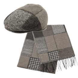12 Bulk Wool Blend Ivy Cap With Scarf Sets