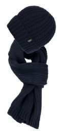 12 Bulk Chunky Cable Knit Beanie Sherpa Lining With Matching Scarf Set