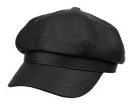 12 Bulk Faux Leather Green Fisherman Hat In Black