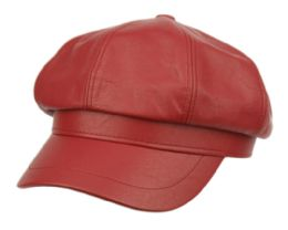 12 Bulk Faux Leather Green Fisherman Hat In Red