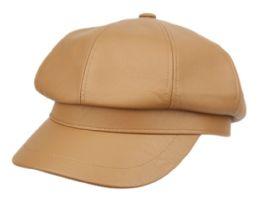 12 Bulk Faux Leather Green Fisherman Hat In Khaki