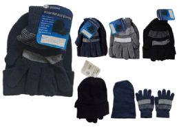 144 Bulk Men's Hat And Gloves Set One Size Fits Most, Black, Grey, Blue