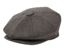 12 Bulk Brushed Solid Color Wool Blend Newsboy Cap With Quilted Satin Lining In Grey