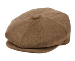 12 Bulk Brushed Solid Color Wool Blend Newsboy Cap With Quilted Satin Lining In Light Brown