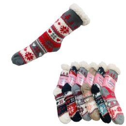 48 Bulk Women's Plush-Lined Non Slip Sherpa Socks [Snowflakes]