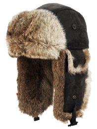 4 Bulk Winter Faux Fur Bomber Trapper Hat In Black