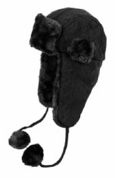 12 Bulk Winter Faux Fur Knit Trapper Hat With Chin Cod And Pom Pom