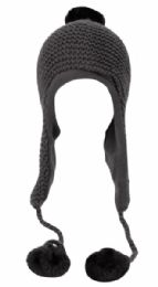 12 Bulk Winter Knit Trooper Hat With Pom Pom And Chin Cod