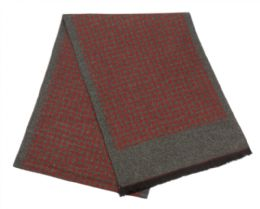 12 Bulk Mens Cashmere Feel Check Dots Scarf In Burgandy