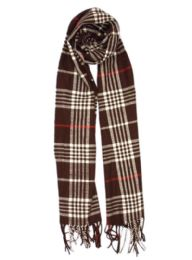 24 Bulk Plaid Soft Cashmere Feel Scarf in Brown