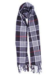 24 Bulk Plaid Soft Cashmere Feel Scarf in Navy