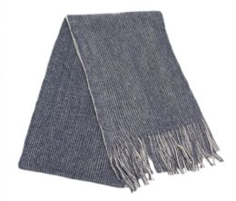 12 Bulk Mens Winter Knit Denim Scarf In Blue