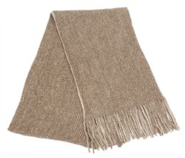 12 Bulk Mens Winter Knit Denim Scarf In Brown