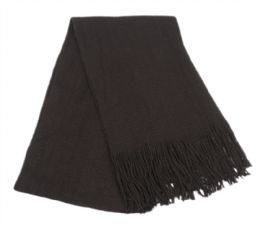 18 Bulk Mens Winter Solid Knit Scarf In Black
