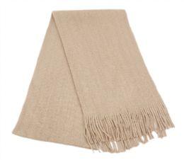18 Bulk Mens Winter Solid Knit Scarf In Khaki