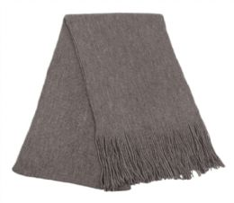 18 Bulk Mens Winter Solid Knit Scarf In Charcoal