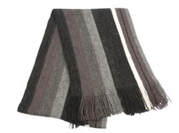 18 Bulk Mens Winter Knit Stripe Scarf In Black