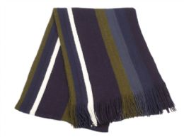 18 Bulk Mens Winter Knit Stripe Scarf In Navy