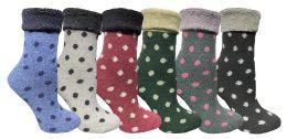 24 Bulk Yacht & Smith Womens Thick Soft Knit Wool Warm Winter Crew Socks, Patterned Lambswool, POLKA DOT