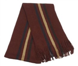 18 Bulk Mens Winter Knit Stripe Scarf In Burgandy