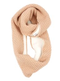 12 Bulk Ladies Wool Blend Knit Infinity Scarf With Sherpa Lining