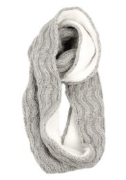 12 Bulk Wool Blend Cable Knit Infinity Scarf With Sherpa Lining