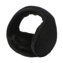 18 Bulk Winter Ear Warmer With Faux Fur Lining In Black