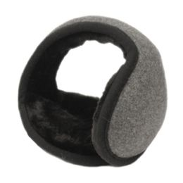 18 Bulk Winter Ear Warmer With Faux Fur Lining In Charcoal