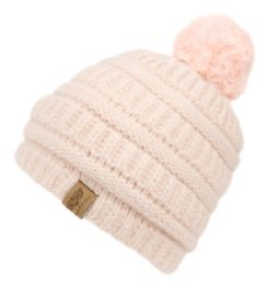 12 Bulk Kids Solid Color Cable Knit Beanie With Pom Pom And Sherpa Lining