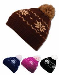 24 Bulk Kids Winter Knit Beanie With Pom Pom Assorted Color