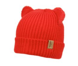 24 Bulk Kids Cable Knit Beanie With Sherpa Lining