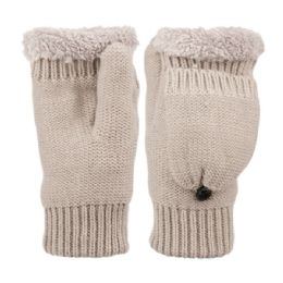 12 Bulk Fingerless Winter Knit Mittens With Cover And Sherpa Lining