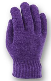 48 Bulk Ladies Knit Chenille Glove In Assorted Color