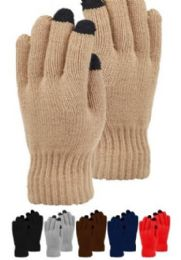 48 Bulk Mens Heavy Knit Glove With Screen Touch In Black