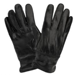 12 Bulk Mens Genuine Leather Gloves With Faux Fur Lining And Elastic Cuff