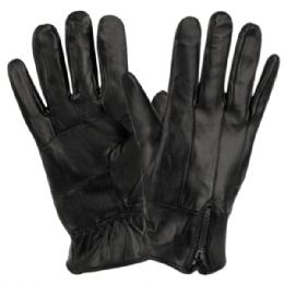 12 Bulk Mens Genuine Leather Gloves With Faux Fur Lining And Zipper Cuff