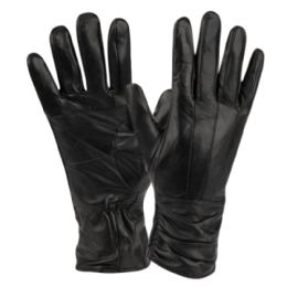 12 Bulk Ladies Genuine Leather Gloves With Faux Fur Lining