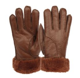 12 Bulk Ladies Faux Fur Leather Winter Glove With Fur And Cuff Lining