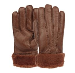 12 Bulk Mens Faux Leather Winter Glove With Fur Cuff And Lining