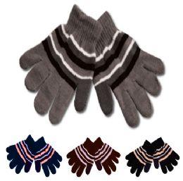 96 Bulk Kids Knit Stripe Glove