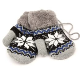 24 Bulk Winter Knit Kids Mittens With Warm Sherpa Lining And String