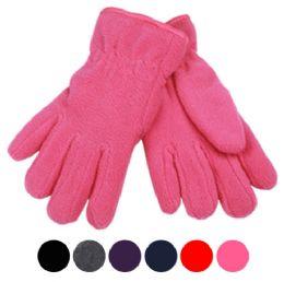 24 Bulk Kids Winter Fleece Glove In Assorted Color
