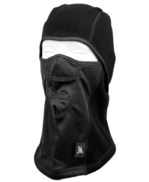 12 Bulk Winter Face Cover Sports Mask With Front Mesh And Warm Fur Lining In Black