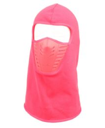 12 Bulk Winter Face Cover Sports Mask With Front Air Flow And Soft Fur Lining In Hot Pink