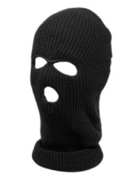 24 Bulk 3 Holes Winter Sports Knit Mask In Black