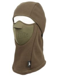 12 Bulk Winter Face Cover Sports Mask With Front Foam And Warm Fur Lining In Olive