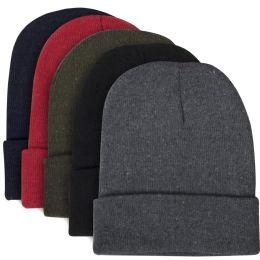100 Bulk Adult Knit Hat Beanie 5 Assorted Colors