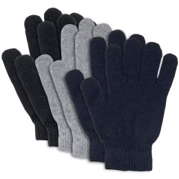 100 Bulk Adult Knitted Gloves 3 Assorted Colors