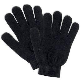 100 Bulk Adult Knitted Gloves Black Only