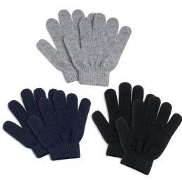 100 Bulk Children Knitted Gloves 3 Assorted Colors